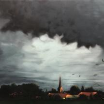 Abendstimmung mit Gewitterwolke Eitempera auf Leinwand 130x150cm 2020